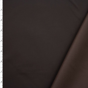 Dark Brown Waxed Stretch Cotton Twill Fabric By The Yard