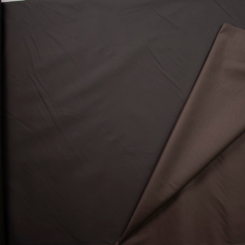Dark Brown Waxed Stretch Cotton Twill Fabric By The Yard - Wide shot