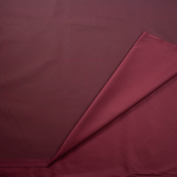 Burgundy Waxed Stretch Cotton Twill Fabric By The Yard - Wide shot