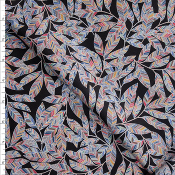 Rainbow Leaves on Black Designer Cotton Shirting from 'Tori Richards' Fabric By The Yard