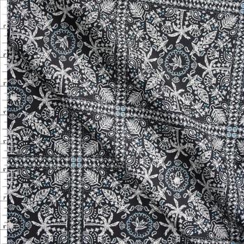 Beachside Bandana on Black Designer Cotton Shirting from 'Tori Richards' Fabric By The Yard
