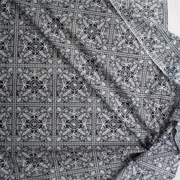 Beachside Bandana on Black Designer Cotton Shirting from 'Tori Richards' Fabric By The Yard - Wide shot