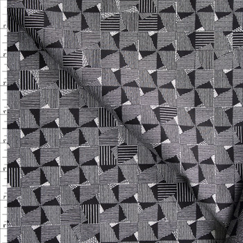 Crosshatch Squares on Black Designer Cotton Shirting from 'Tori Richards' Fabric By The Yard