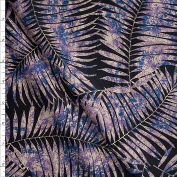 Purple Splatter Palm Silhouettes on Black Designer Cotton Shirting from 'Tori Richards' Fabric By The Yard