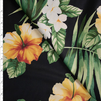 Classic Hibiscus on Black Designer Cotton Shirting from 'Tori Richards' Fabric By The Yard