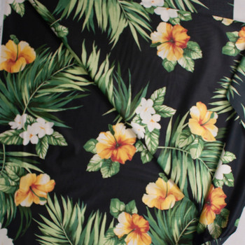 Classic Hibiscus on Black Designer Cotton Shirting from 'Tori Richards' Fabric By The Yard - Wide shot