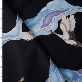 Aurora Herons on Black Designer Cotton Shirting from 'Tori Richards' Fabric By The Yard