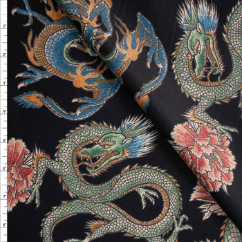Dragons and Roses on Black Designer Cotton Shirting from 'Tori Richards' Fabric By The Yard