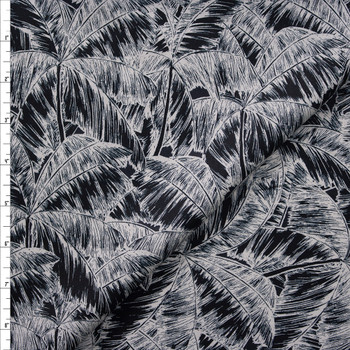 Black and Offwhite Palm Canopy Designer Cotton Shirting from 'Tori Richards' Fabric By The Yard