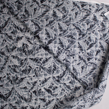 Black and Offwhite Palm Canopy Designer Cotton Shirting from 'Tori Richards' Fabric By The Yard - Wide shot