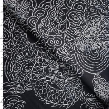 Hashmark Flying Dragons on Black Designer Cotton Shirting from 'Tori Richards' Fabric By The Yard