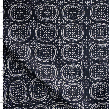 Dot Medallions on Black Designer Cotton Shirting from 'Tori Richards' Fabric By The Yard