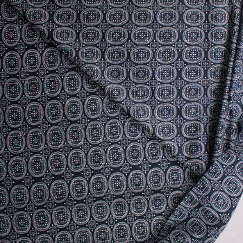 Dot Medallions on Black Designer Cotton Shirting from 'Tori Richards' Fabric By The Yard - Wide shot