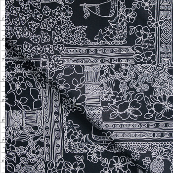 Island Tiles on Black Designer Cotton Shirting from 'Tori Richards' Fabric By The Yard