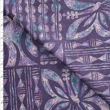Plum, Teal, and Lavender Intricate Island Tiles Designer Cotton Shirting from 'Tori Richards' Fabric By The Yard