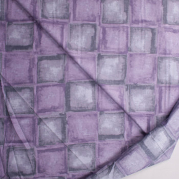 Lavender and Grey Tiles Designer Cotton Shirting from 'Tori Richards' Fabric By The Yard - Wide shot