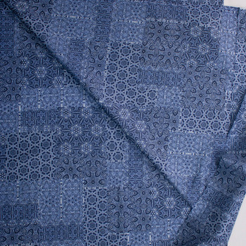 Island Patchwork on Blue Designer Cotton Shirting from 'Tori Richards' Fabric By The Yard - Wide shot