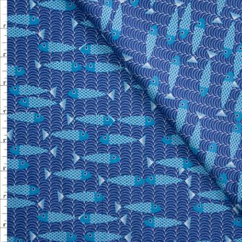 Aqua Fish on Blue Waves Designer Cotton Shirting from 'Tori Richards' Fabric By The Yard