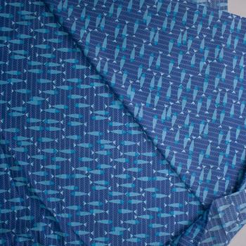 Aqua Fish on Blue Waves Designer Cotton Shirting from 'Tori Richards' Fabric By The Yard - Wide shot