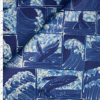 Whales and Waves Designer Cotton Shirting from 'Tori Richards' Fabric By The Yard