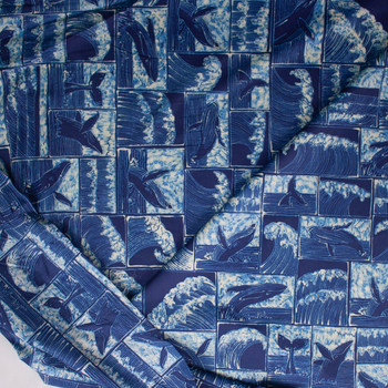 Whales and Waves Designer Cotton Shirting from 'Tori Richards' Fabric By The Yard - Wide shot