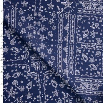 Beach Bandana on Navy Blue Designer Cotton Shirting from 'Tori Richards' Fabric By The Yard