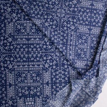 Beach Bandana on Navy Blue Designer Cotton Shirting from 'Tori Richards' Fabric By The Yard - Wide shot