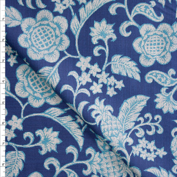 Pineapple Scrollwork on Blue Designer Cotton Shirting from 'Tori Richards' Fabric By The Yard