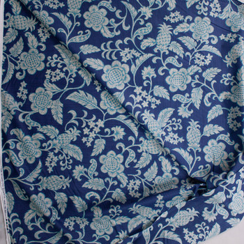 Pineapple Scrollwork on Blue Designer Cotton Shirting from 'Tori Richards' Fabric By The Yard - Wide shot