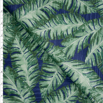 Long Palms on Blue Designer Cotton Shirting from 'Tori Richards' Fabric By The Yard
