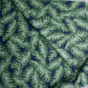 Long Palms on Blue Designer Cotton Shirting from 'Tori Richards' Fabric By The Yard - Wide shot