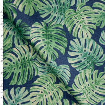 Short Palms on Blue Designer Cotton Shirting from 'Tori Richards' Fabric By The Yard