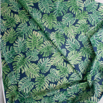 Short Palms on Blue Designer Cotton Shirting from 'Tori Richards' Fabric By The Yard - Wide shot