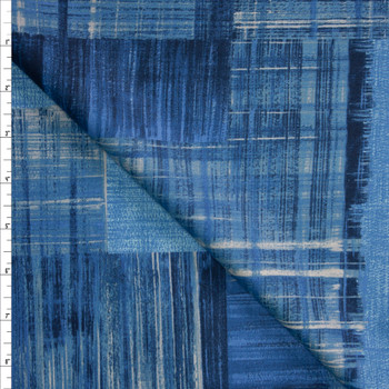 Paintstroke Patchwork Blue Designer Cotton Shirting from 'Tori Richards' Fabric By The Yard