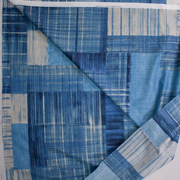 Paintstroke Patchwork Blue Designer Cotton Shirting from 'Tori Richards' Fabric By The Yard - Wide shot