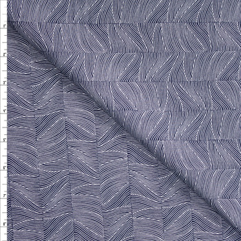 Wave Stripe on Midnight Blue Designer Cotton Shirting from 'Tori Richards' Fabric By The Yard