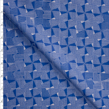 Crosshatch Squares on Blue Designer Cotton Shirting from 'Tori Richards' Fabric By The Yard