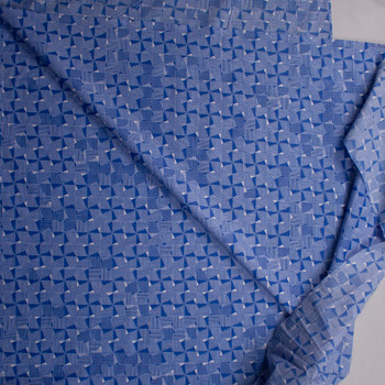 Crosshatch Squares on Blue Designer Cotton Shirting from 'Tori Richards' Fabric By The Yard - Wide shot