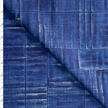 Deep Blue Grid Tiles Designer Cotton Shirting from 'Tori Richards' Fabric By The Yard