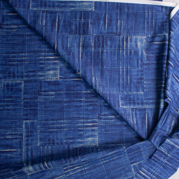 Deep Blue Grid Tiles Designer Cotton Shirting from 'Tori Richards' Fabric By The Yard - Wide shot