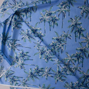 Paintbrush Palms on Sky Blue Designer Cotton Shirting from 'Tori Richards' Fabric By The Yard - Wide shot