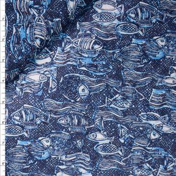 Crisscross Fish Blue Designer Cotton Shirting from 'Tori Richards' Fabric By The Yard