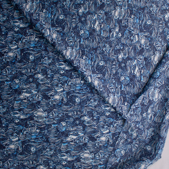 Crisscross Fish Blue Designer Cotton Shirting from 'Tori Richards' Fabric By The Yard - Wide shot
