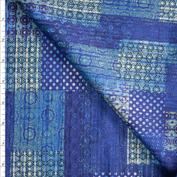 Watercolor Patchwork Blue Designer Cotton Shirting from 'Tori Richards' Fabric By The Yard