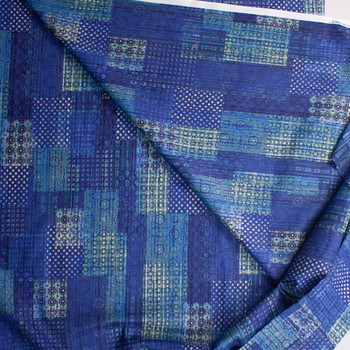 Watercolor Patchwork Blue Designer Cotton Shirting from 'Tori Richards' Fabric By The Yard - Wide shot