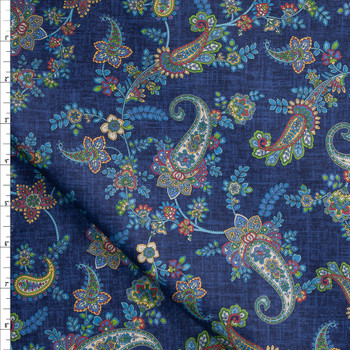 Colorful Paisley Floral on Blue Designer Cotton Shirting from 'Tori Richards' Fabric By The Yard