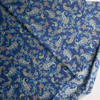 Colorful Paisley Floral on Blue Designer Cotton Shirting from 'Tori Richards' Fabric By The Yard - Wide shot