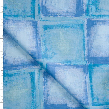 Blue and Turquoise Tiles Designer Cotton Shirting from 'Tori Richards' Fabric By The Yard