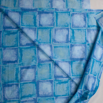 Blue and Turquoise Tiles Designer Cotton Shirting from 'Tori Richards' Fabric By The Yard - Wide shot
