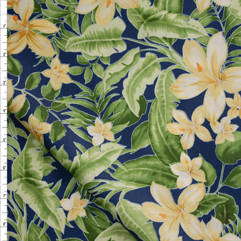 Yellow and GreenIsland Floral on Blue Designer Cotton Shirting from 'Tori Richards' Fabric By The Yard
